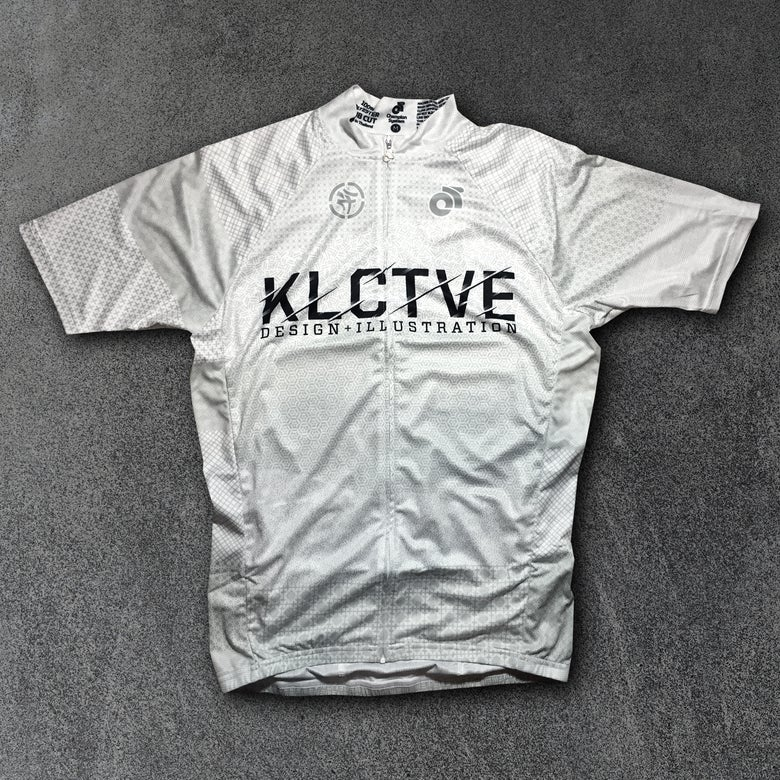 "Image of KLCTVE ""(over)DRAFT"" White Cycling Jersey"
