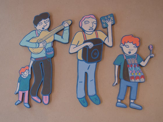 Image of Cecilia Beaven's characters from her CDMX neighborhood: Portales