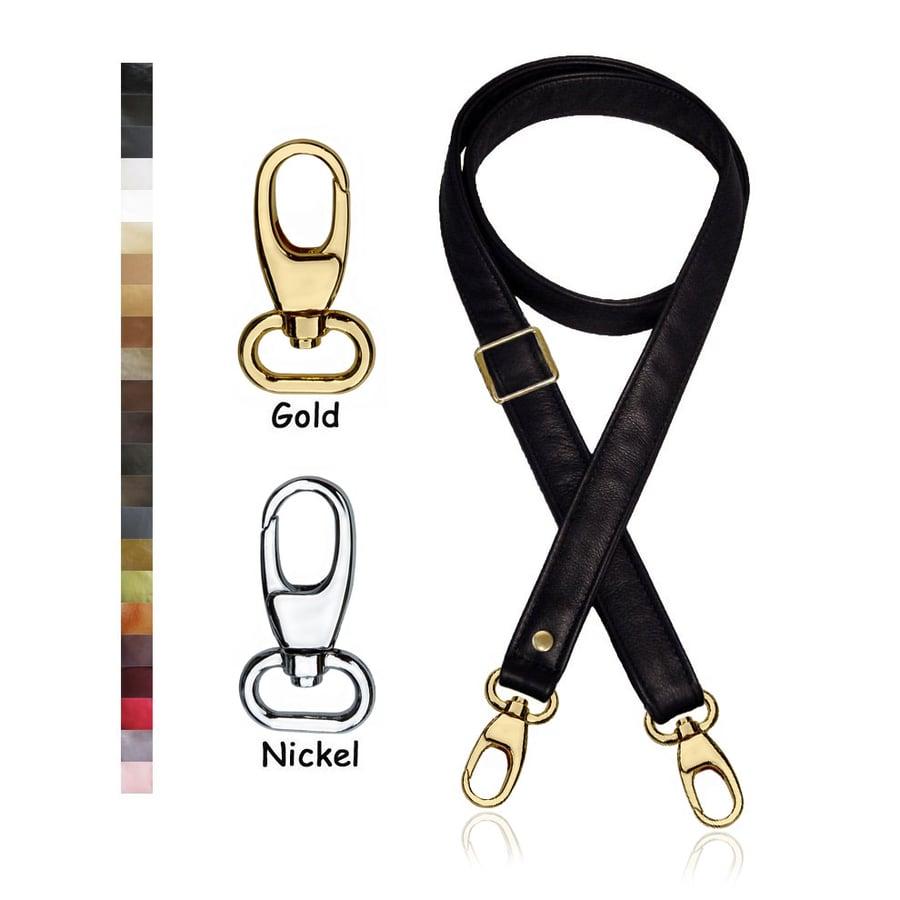 "Image of Adjustable Crossbody Bag Strap - Choose Leather Color - 55"" Maximum Length, 1"" Wide, #17B Hooks"