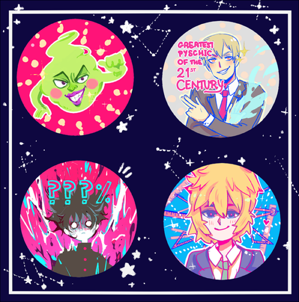 "Image of Mob Psycho 2.25"" Buttons"