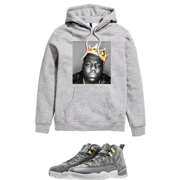 Image of BIGGIE CROWN RETRO 12 WOLF GREY HOODED SWEATSHIRT - GREY