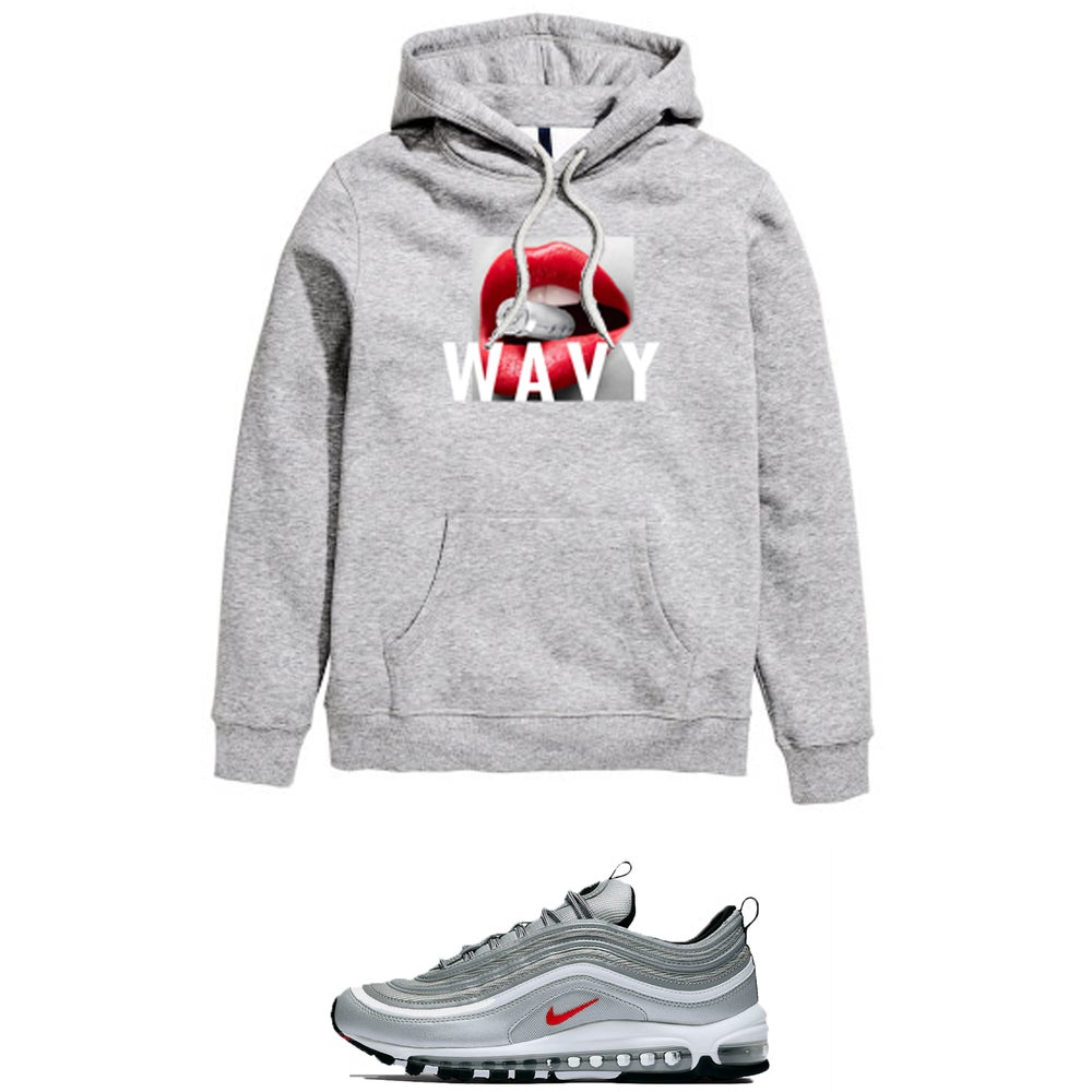 Image of SILVER BULLET WAVY AIR MAX 97 SILVER BULLET HOODED SWEATSHIRT - GREY