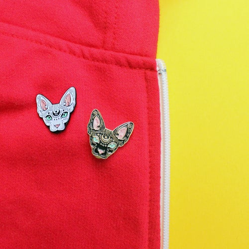 Image of Black & white Mystical Sphynx pins, set of TWO