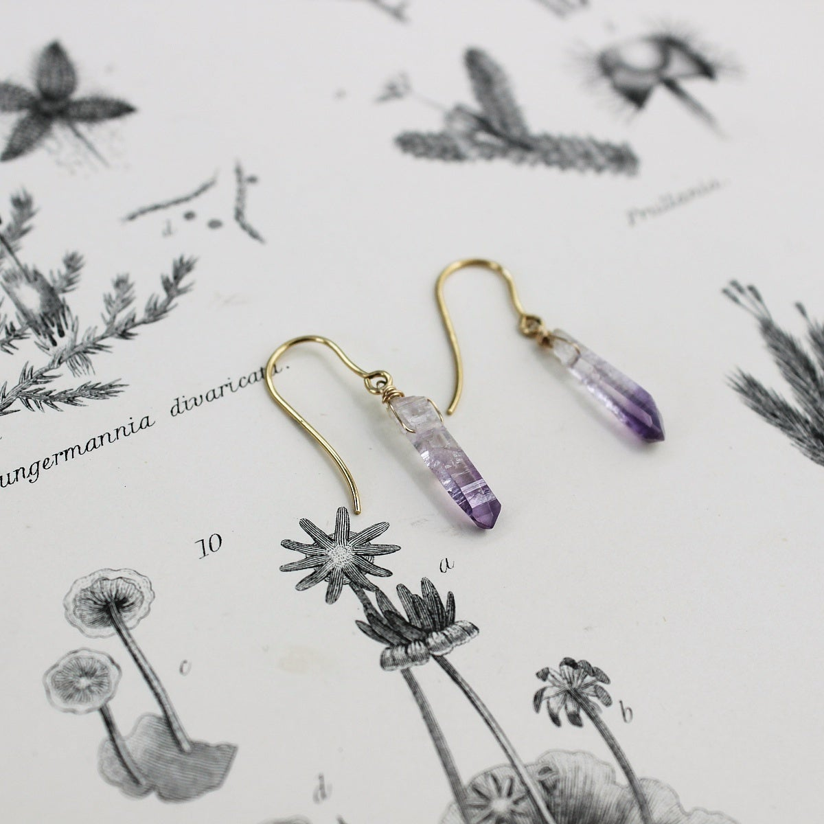 Image of amethyst crystal earrings in gold or silver