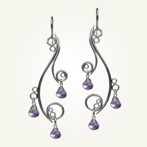 Image of Greek Isle Earrings with Amethyst, Sterling Silver