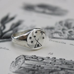 Image of 'Under the stars' Wilderness signet ring in silver or gold