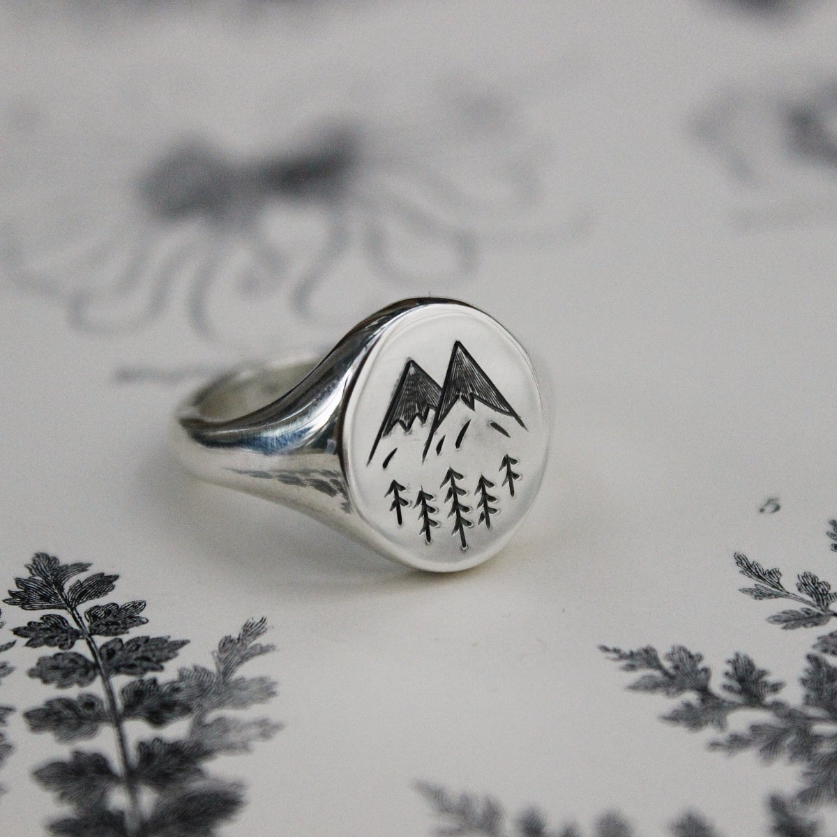 Image of 'Alps' Wilderness large signet ring