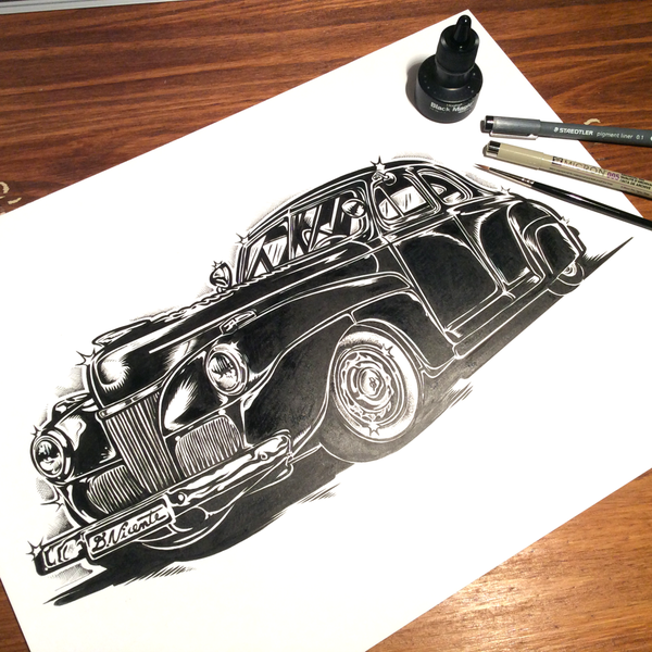 Image of 1941 FORD SPECIAL DELUXE - Ink on paper