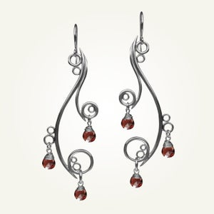 Image of Greek Isle Earrings with Garnet, Sterling Silver