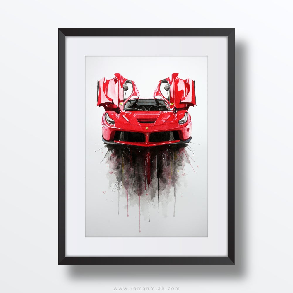 Image of Ferrari LaFerrari Original Watercolour Painting