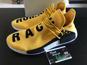 "Image of adidas pw human race nmd ""yellow"", used, size 10.5"