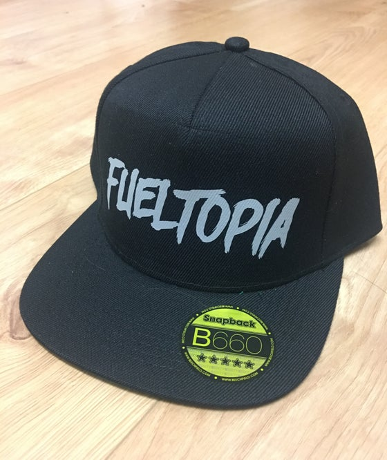 Image of Grey Logo Black Snap Back Flat Peak Cap