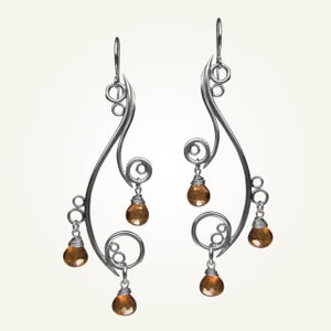 Image of Greek Isle Earrings with Orange Topaz, Sterling Silver