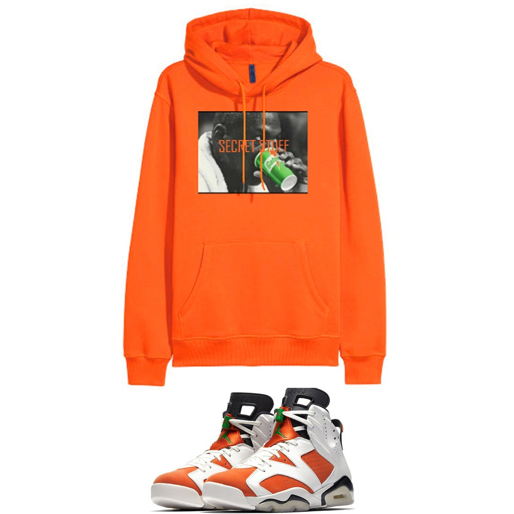 "Image of MJ SECRET STUFF RETRO 6 GATORADE "" LIKE MIKE "" HOODED SWEATSHIRT - ORANGE"
