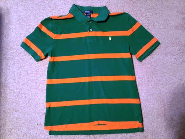 "Image of Ralph Lauren Polo Shirt Kids ""Green/Orange"""