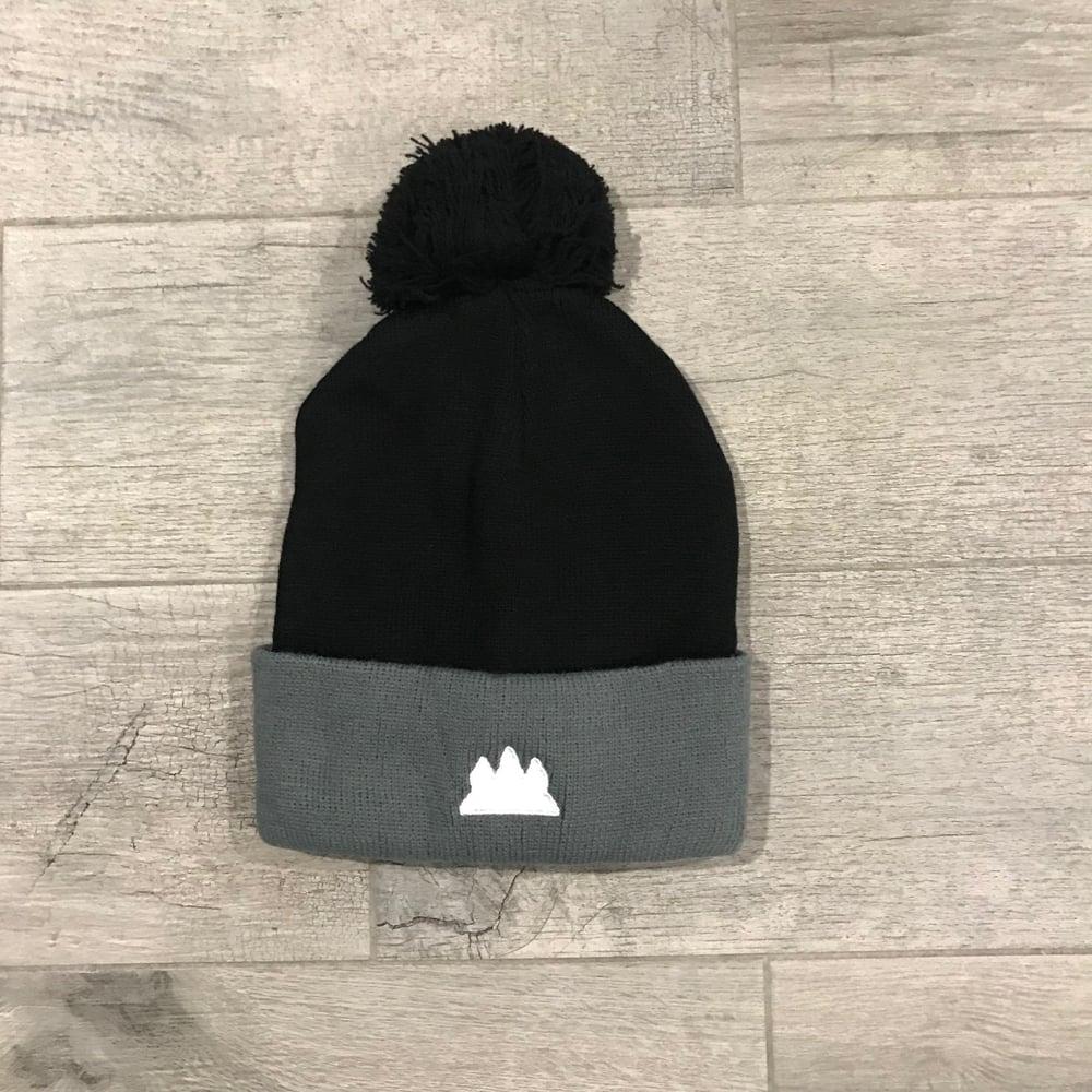 Image of Black/Grey Pom Beanie