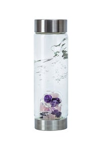 Image of VitaJuwel ViA Water Bottle with Wellness Gempod (amethyst, rose quartz, and clear quartz)