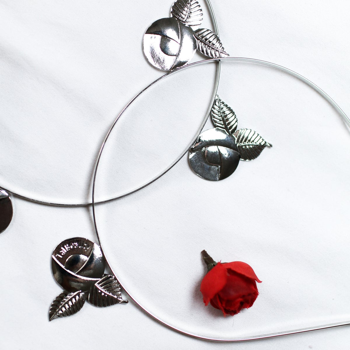 Image of Shiny Silver Rose Headband