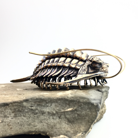 Image of Trilobite, Ceraurus species, complete bronze reconstruction