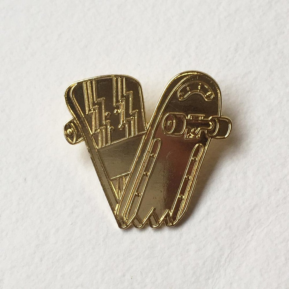 Image of Gold Wizz Plank Enamel Pin Badge