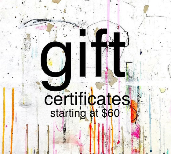 Image of gift certificates starting at $60