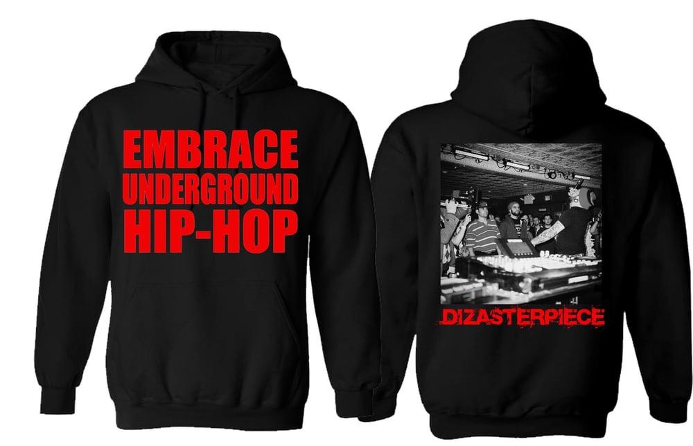 Image of EMBRACE UNDERGROUND HIP-HOP Hoodie (REDUX!!!) BLACK!