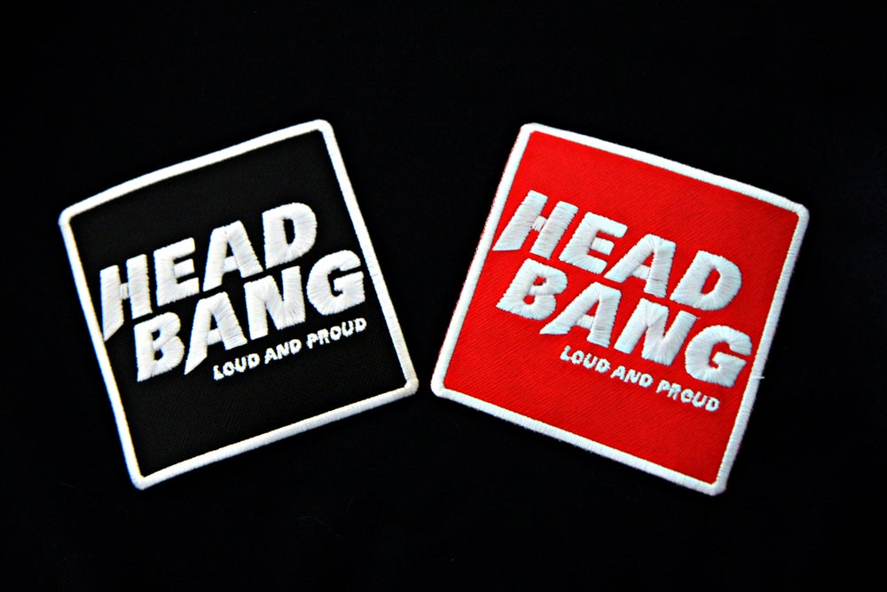 "Image of Patch brodé thermocollant ""Headbang Loud and Proud"" (Rouge ou Noir)"