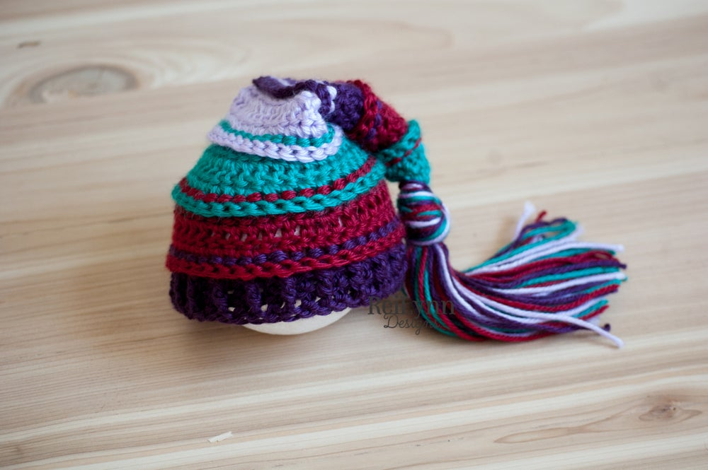 Image of Winter Jewel Tassel Hat- Teal, Burgundy, Plum and Teal