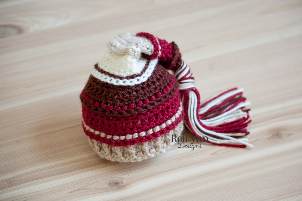 Image of Christmas Cocoa Tassel Hat- Brown, Burgundy, Bone and Ivory