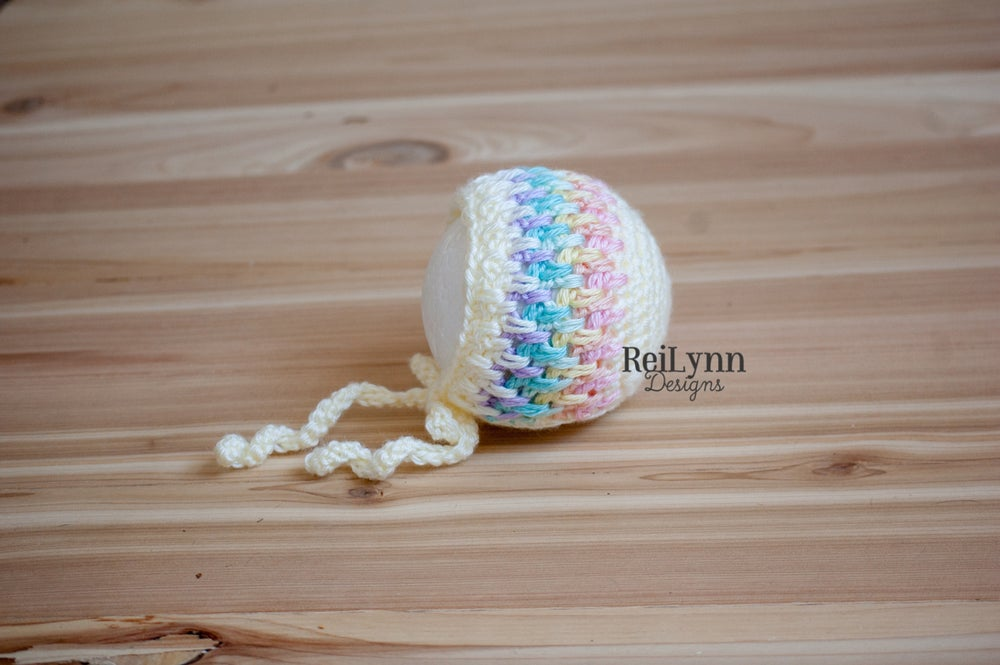 Image of Pastel Rainbow Baby Bonnet