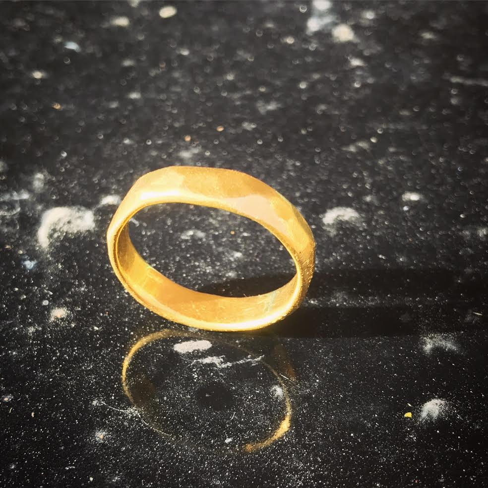 Image of Thick Multifaceted Solid Gold Ring