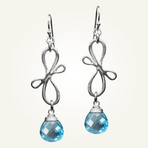 Image of Victorian Ribbon Mini Earrings with Swiss Blue Topaz, Sterling Silver