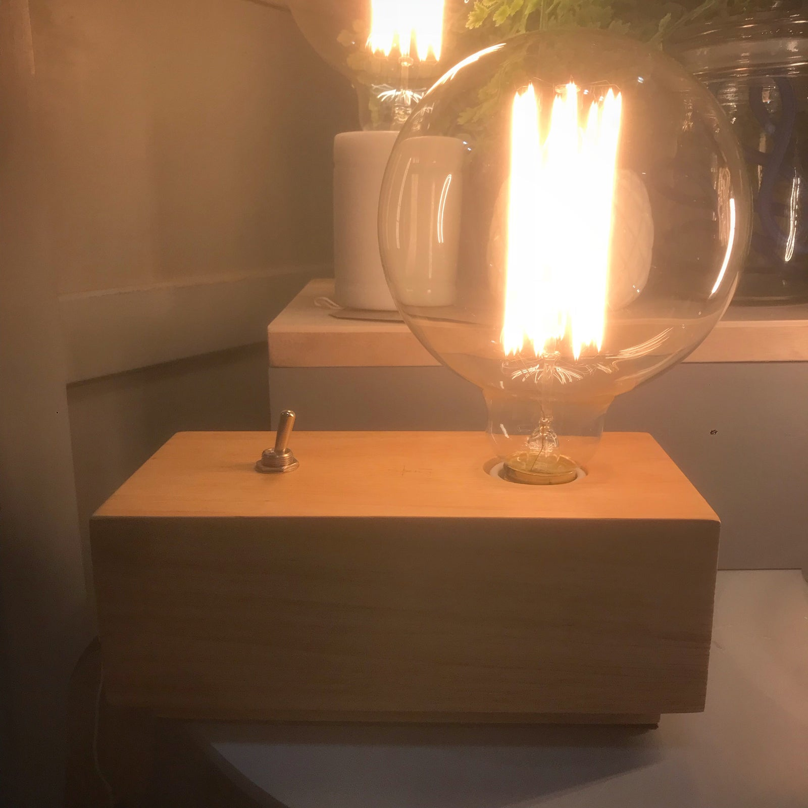Josie S Wooden Block Table Lamp With Large Edison Filament Bulb