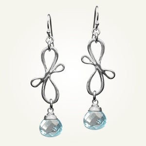 Image of Victorian Ribbon Mini Earrings with Sky Blue Topaz, Sterling Silver