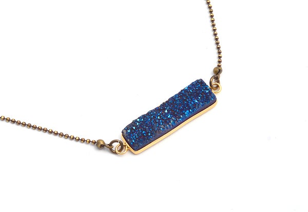 Image of electric blue druzy bar necklace