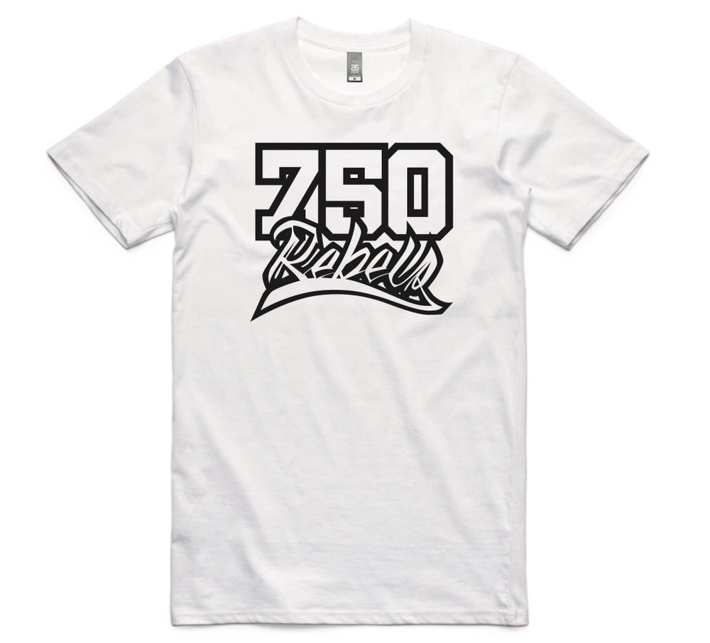 Image of 750 Rebels White Logo T-Shirt