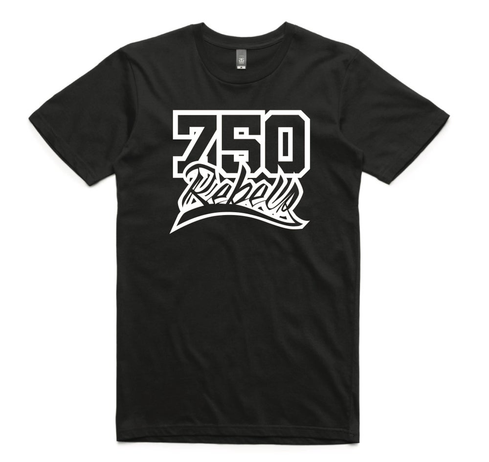 Image of 750 Rebels Black Logo T-Shirt