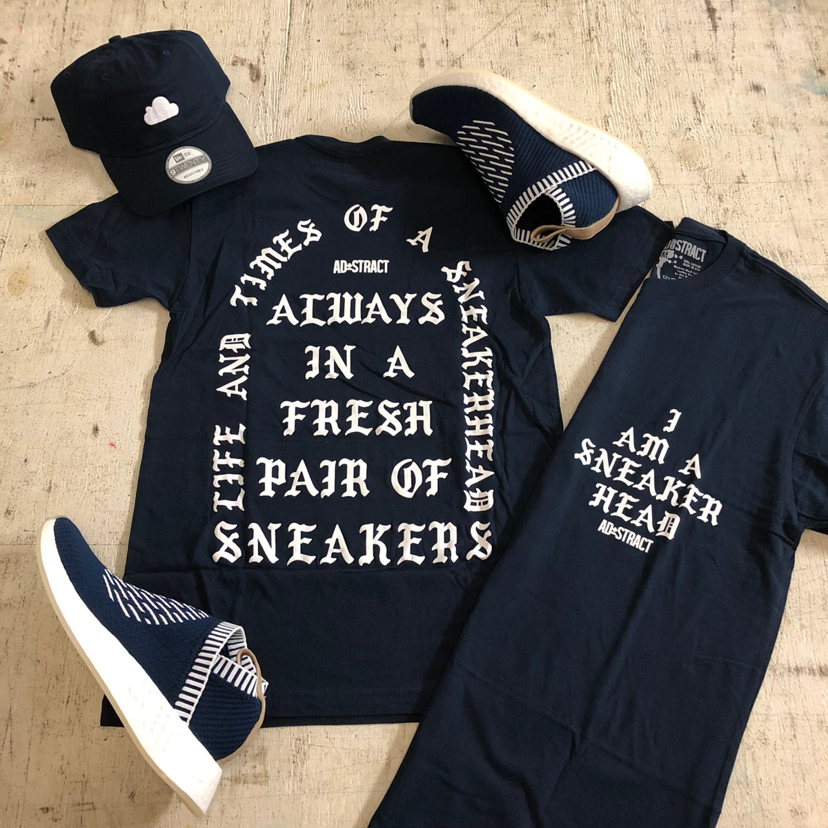 Image of I AM A SNEAKERHEAD (NAVY/WHITE) TSHIRT
