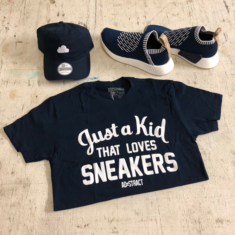 "Image of JUST A KID THAT LOVES SNEAKERS ""NAVY"" TSHIRT (MENS)"