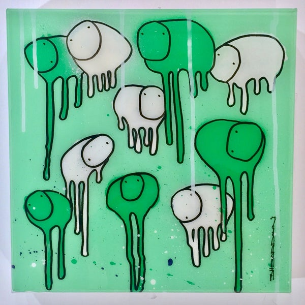 "Image of Raining Cows,  ""ICE GEEN FOREST""  12""X12"""