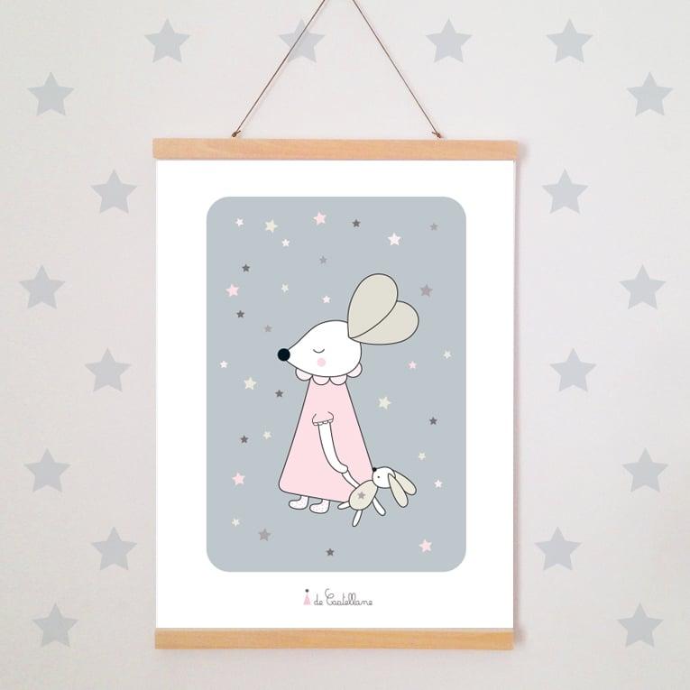 Image of Affiche - Souris aux étoiles (A4)