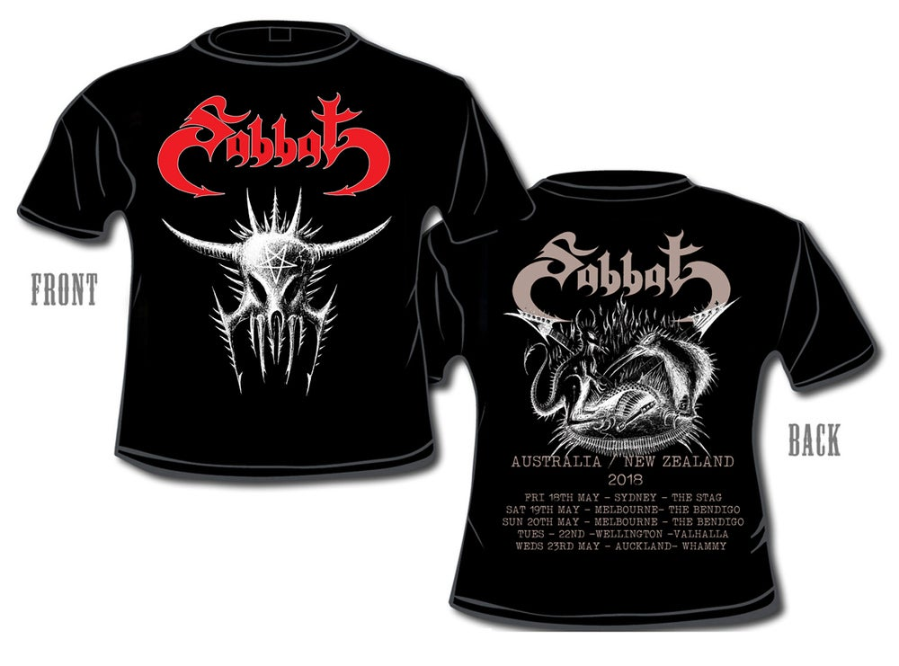 Image of SABBAT ( JAPAN) TOUR SHIRT - AUSTRALIA / NEW ZEALAND 2018