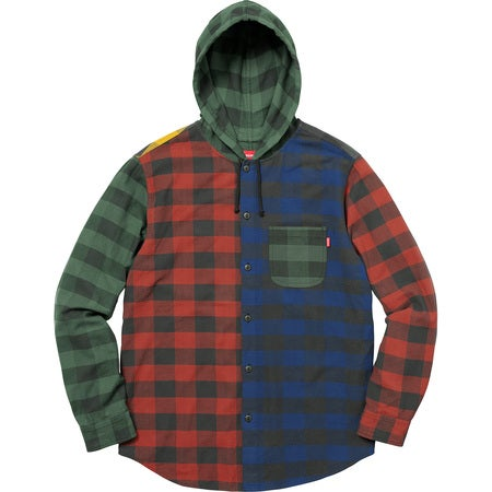Image of Supreme - Hooded Buffalo Plaid Flannel Shirt  (Multicolor)