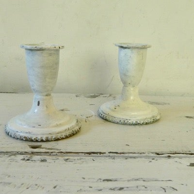 Image of 2 Short Painted White Enamel Candleholders