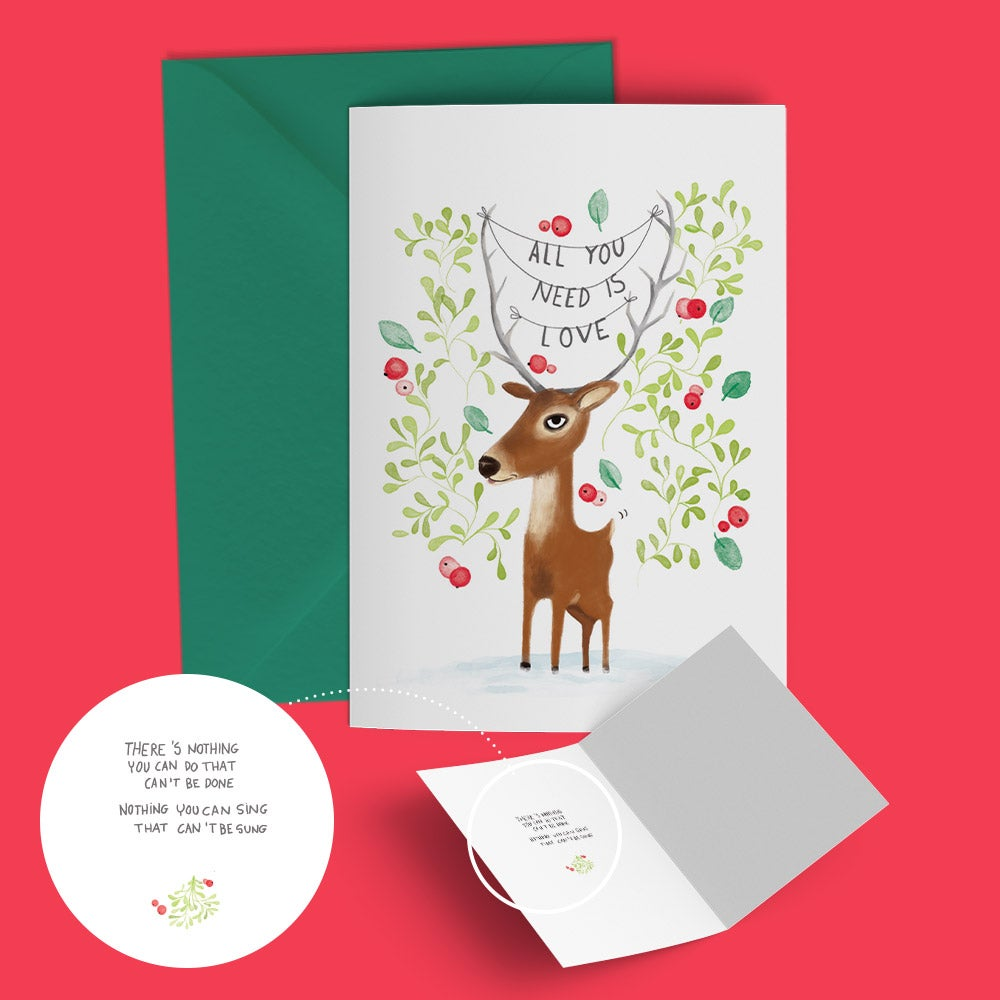 "Image of Seasonal greeting card ""deer love"""