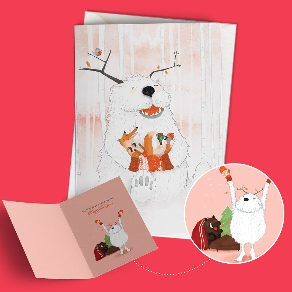 "Image of Seasonal greeting card ""Yuri the gentle yeti"""