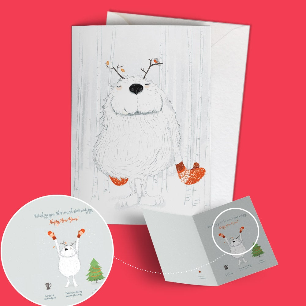 "Image of Seasonal greeting card ""Yuri the compassionate yeti"""