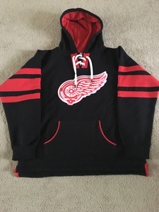 Image of Black with Red Stipe Grateful Wings Hoodie