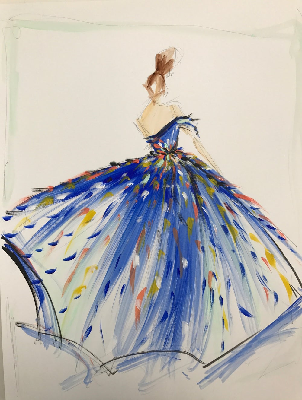 Image of Multi-Color Tulle Gown - Sketch Print