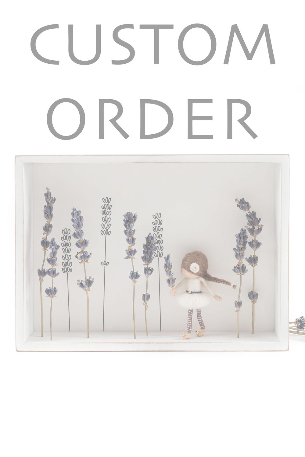 Image of NEEDLE FELTED FAIRY DOLL IN SHADOW BOX - LAVENDER FAIRY - CUSTOM ORDER